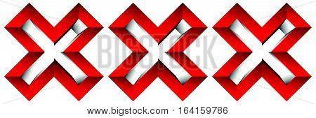 Triple Red X Letter, X Shape. Red Cross Icon For Negative, Decline, Error Concepts