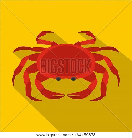 Big red crab icon. Flat illustration of big red crab vector icon for web isolated on yellow background