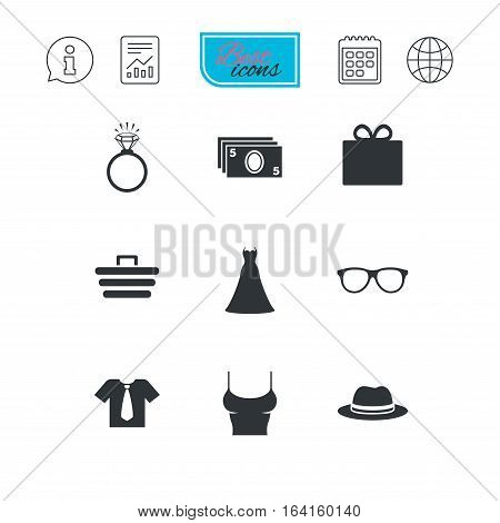 Accessories, clothes icons. Shirt with tie, glasses signs. Dress and engagement ring symbols. Report document, calendar and information web icons. Vector