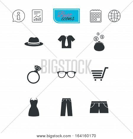 Clothes, accessories icons. Shirt, glasses and hat signs. Wallet with cash coins symbols. Report document, calendar and information web icons. Vector