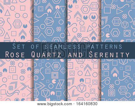 Seamless Pattern Set With Geometric Figures In The Memphis Style. Rose Quartz And Serenity. Vector I