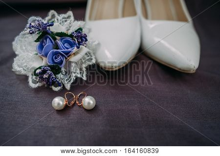Bride Accessories: Lace Blouse, Garter, Ballet Flats, High-heeled Shoes