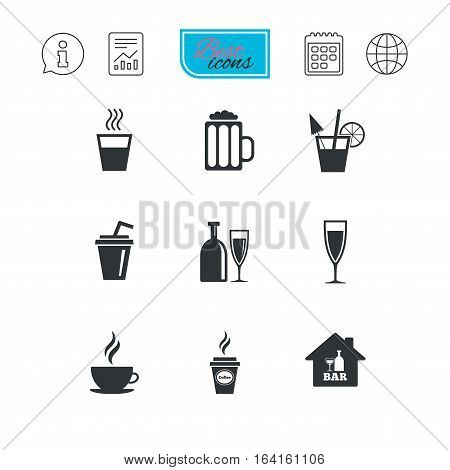 Cocktail, beer icons. Coffee and tea drinks. Soft and alcohol drinks symbols. Report document, calendar and information web icons. Vector