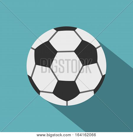 Soccer ball icon. Flat illustration of soccer ball vector icon for web isolated on baby blue background
