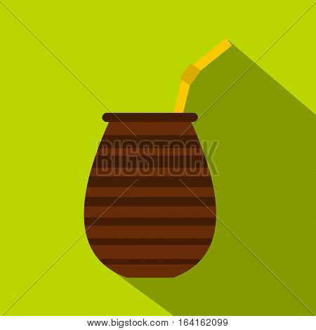 Chimarrao for mate or terere icon. Flat illustration of chimarrao for mate or terere vector icon for web isolated on lime background