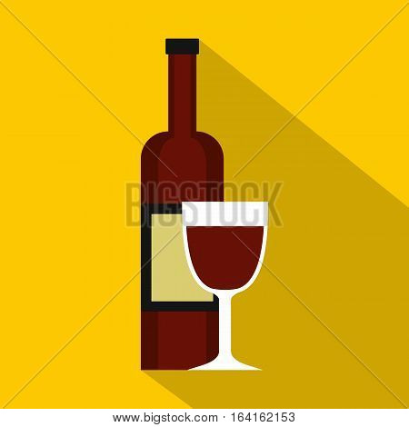 Glass of red wine and a bottle icon. Flat illustration of glass of red wine and a bottle vector icon for web isolated on yellow background