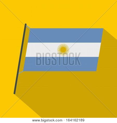 Argentina flag icon. Flat illustration of Argentina flag vector icon for web isolated on yellow background
