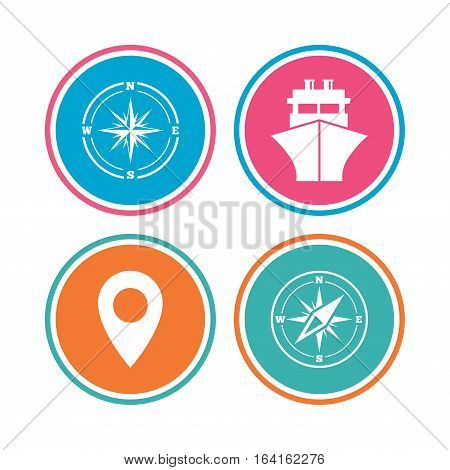 Windrose navigation compass icons. Shipping delivery sign. Location map pointer symbol. Colored circle buttons. Vector