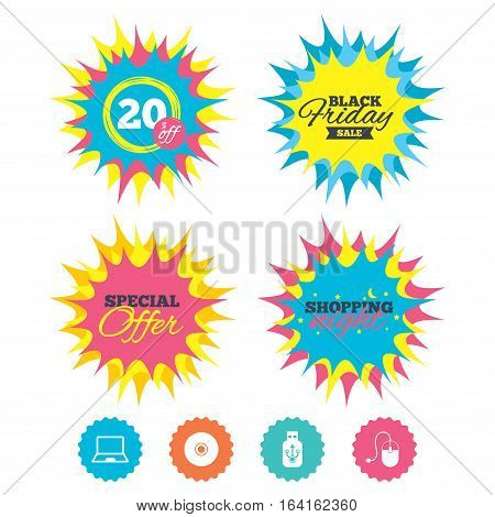 Shopping night, black friday stickers. Notebook pc and Usb flash drive stick icons. Computer mouse and CD or DVD sign symbols. Special offer. Vector