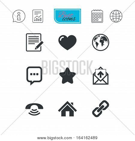 Mail, contact icons. Favorite, like and internet signs. E-mail, chat message and phone call symbols. Report document, calendar and information web icons. Vector
