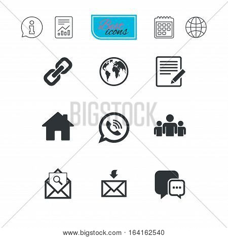 Communication icons. Contact, mail signs. E-mail, call phone and group symbols. Report document, calendar and information web icons. Vector