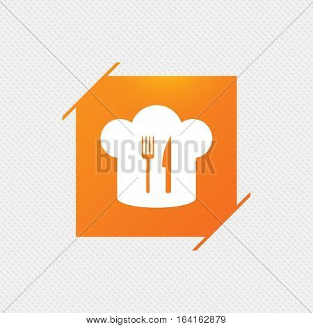 Chef hat sign icon. Cooking symbol. Cooks hat with fork and knife. Orange square label on pattern. Vector