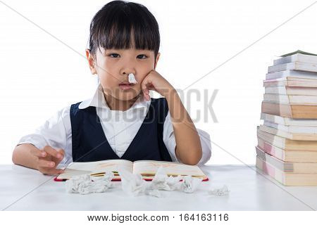 Sick Asian Chinese Little Girl Wearing Uniform Studying