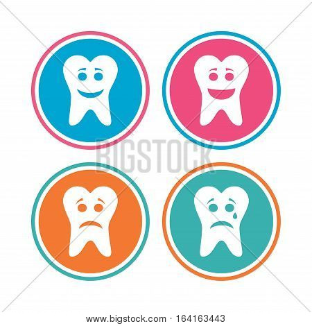 Tooth happy, sad and crying faces icons. Dental care signs. Healthy or unhealthy teeth symbols. Colored circle buttons. Vector