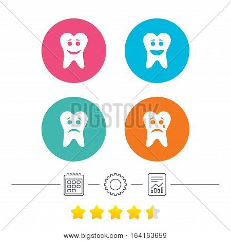 Tooth happy, sad and crying faces icons. Dental care signs. Healthy or unhealthy teeth symbols. Calendar, cogwheel and report linear icons. Star vote ranking. Vector