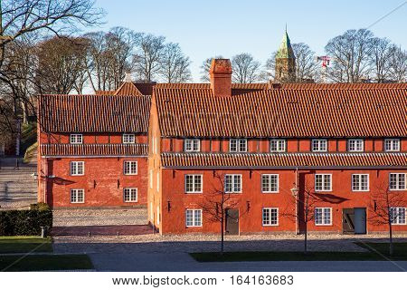 Copenhagen, Denmark - January 05, 2017: Red houses in the histroical fortress Kastellet