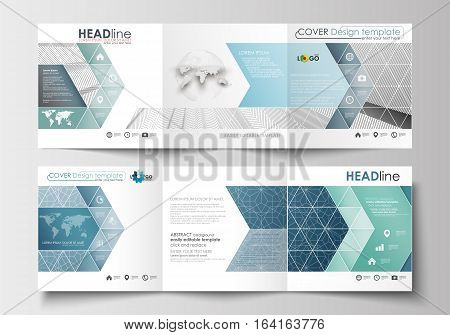 Set of business templates for tri-fold brochures. Square design. Leaflet cover, abstract flat layout, easy editable blank. Abstract blue or gray business pattern with lines, modern stylish vector texture.