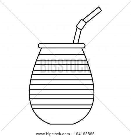 Tea cup called chimarrao, used for mate or terere icon. Outline illustration of tea cup called chimarrao, used for mate or terere vector icon for web
