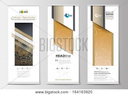 Set of roll up banner stands, flat design templates, abstract geometric style, modern business concept, corporate vertical vector flyers, flag banner layouts. Golden technology background, connection structure with connecting dots and lines, science vecto