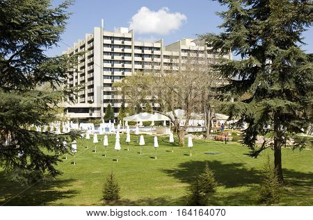 SAINTS CONSTANTINE AND HELENA BULGARIA - APRIL 23 2015: Grand Hotel Varna in Saints Constantine and Helena the oldest first sea resort of Bulgaria exists from 19 century.