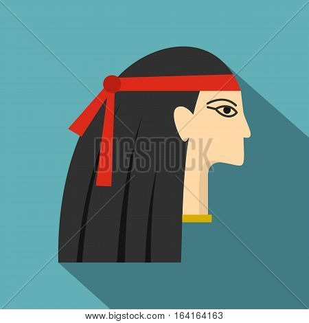 Egyptian princess icon. Flat illustration of egyptian princess vector icon for web isolated on baby blue background