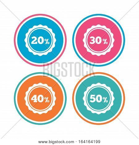 Sale discount icons. Special offer stamp price signs. 20, 30, 40 and 50 percent off reduction symbols. Colored circle buttons. Vector