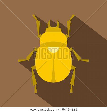 Gold scarab beetle icon. Flat illustration of gold scarab beetle vector icon for web isolated on coffee background