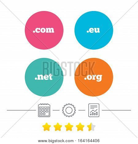 Top-level internet domain icons. Com, Eu, Net and Org symbols. Unique DNS names. Calendar, cogwheel and report linear icons. Star vote ranking. Vector