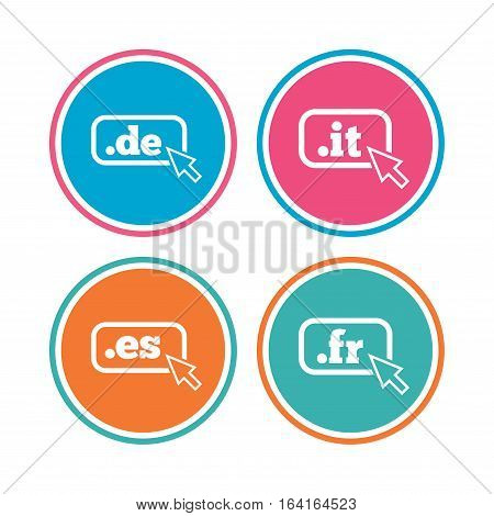 Top-level internet domain icons. De, It, Es and Fr symbols with cursor pointer. Unique national DNS names. Colored circle buttons. Vector