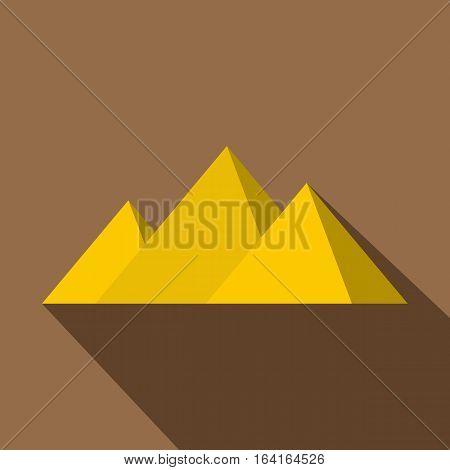Egyptian Giza pyramids icon. Flat illustration of egyptian Giza pyramids vector icon for web isolated on coffee background