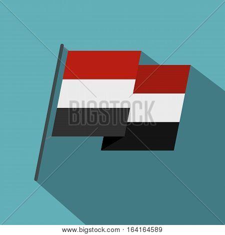 Egyptian wavy flag icon. Flat illustration of egyptian wavy flag vector icon for web isolated on baby blue background
