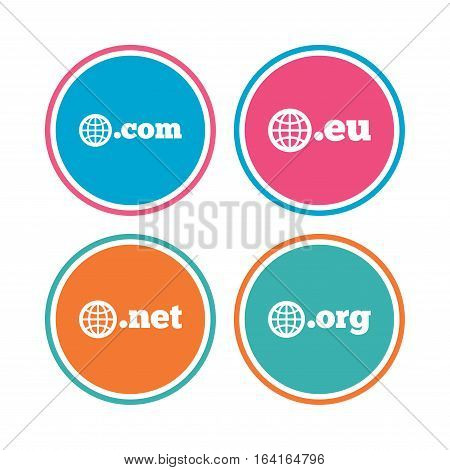 Top-level internet domain icons. Com, Eu, Net and Org symbols with globe. Unique DNS names. Colored circle buttons. Vector