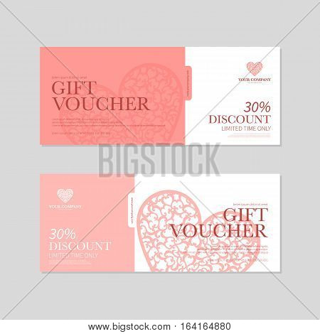Valentine's Day Gift Coupon. Gift voucher template with red hearts. Valentines Day discount voucher or certificate layout