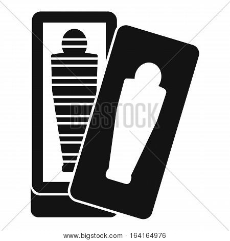 Mummy in sarcophagus icon. Simple illustration of mummy in sarcophagus vector icon for web
