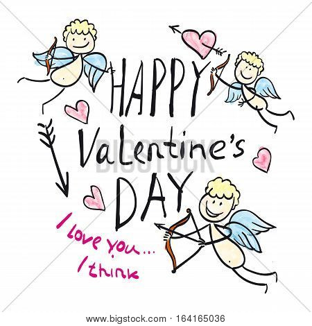 Vector picture with cupids, angels, hearts. Illustration of love, romantic theme, a picture of the poster for Valentine's Day.