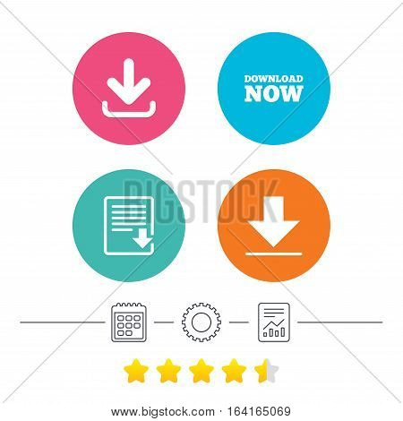 Download now icon. Upload file document symbol. Receive data from a remote storage signs. Calendar, cogwheel and report linear icons. Star vote ranking. Vector