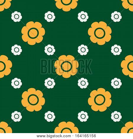 Simple seamless floral texture. The pattern repeating primitive flowers. Green white yellow.