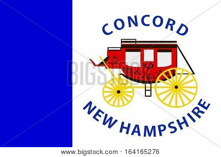 Flag of Concord is the capital city of New Hampshire United States. Vector illustration