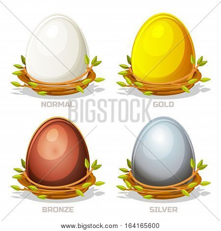 Cartoon funny colored Eggs in birds nest of twigs. Normal gold silver and bronze