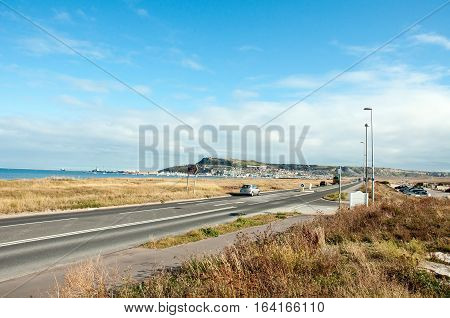 Heading into Portland, Dorset in the summertime.