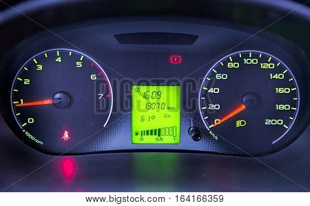 The dashboard  indicator of the car close-up