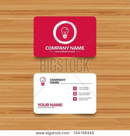 Business card template with texture. Light bulb icon. Lamp E27 screw socket symbol. Illumination sign. Phone, web and location icons. Visiting card  Vector