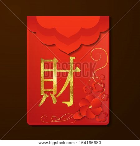 Red Envelope The Chinese word on the envelope means Wealth Vector