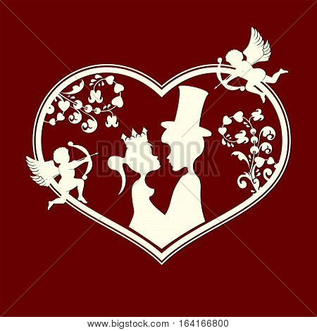 The design of the silhouette of the heart, in love with the fairy Prince and Princess looking at each other and cupids