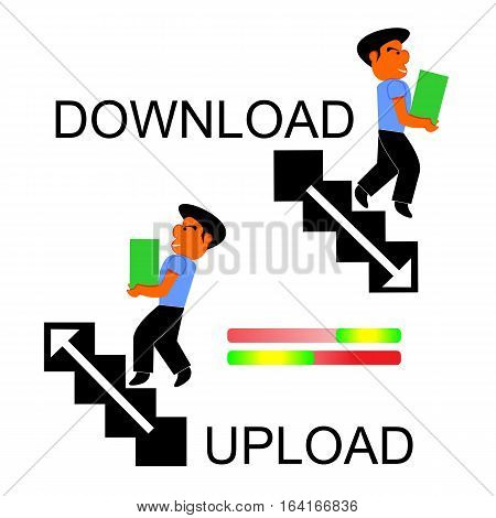 Cartoon Illustration Describing Process of Download and Upload By Man Walking Upstairs and Downstairs