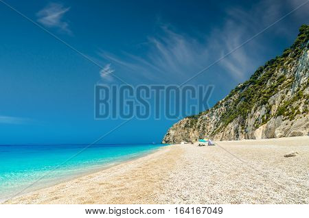 Egremni beach, Lefkada island, Greece. Large and long beach with turquoise water.