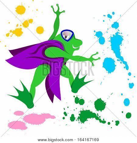 Vector Cartoon Illustration of Frog with Vest Painting while Jumping
