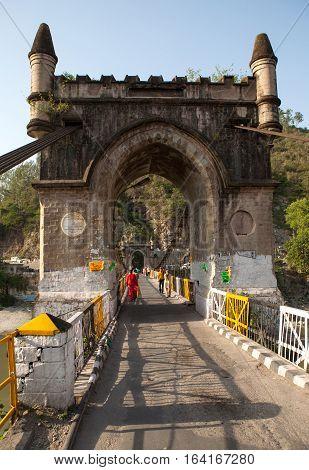 MANDI, INDIA. 4 Jun 2009:  Old suspension bridge Victoria, Mandi. Himachal Pradesh, India