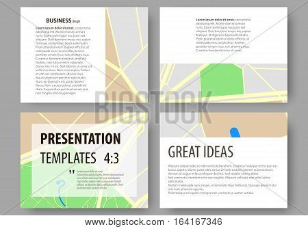 Set of business templates for presentation slides. Easy editable abstract layouts in flat design. City map with streets. Flat design template for tourism businesses, abstract vector illustration.