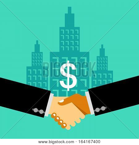 Two businessman handshaking. Business Deal. Business Collaboration. Business Partnership. Business property concept